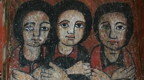 Kuvassa on maalaus kolmesta naisesta